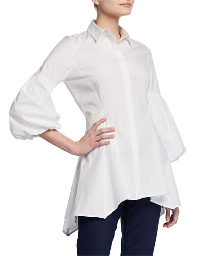 Puff-Sleeve Cotton Poplin