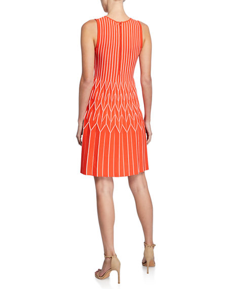 Image 3 of 3: Lela Rose Chevron Pleated Fit-and-Flare Dress