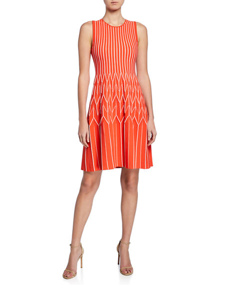 Image 1 of 3: Lela Rose Chevron Pleated Fit-and-Flare Dress