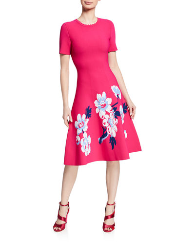 Carolina Herrera Magnolia Short-Sleeve Knit Dress