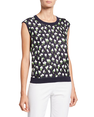 Sleeveless Abstract Floral-Print Knit-Back Sweater
