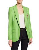 Escada Wool Blazer with Crest Brooch