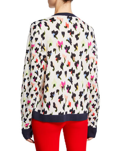 Escada Golden-Button Front  Abstract Floral-Print Cardigan