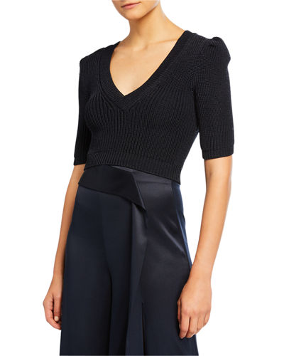 Cropped Puff-Sleeve Sweater