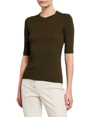 1/2-Sleeve Fitted T-Shirt