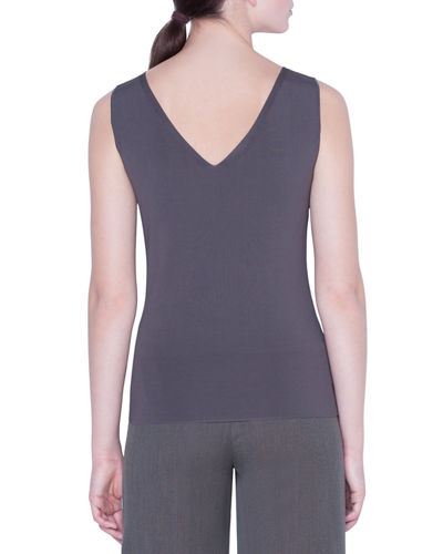 Akris V-Neck Stretch-Crepe Tank