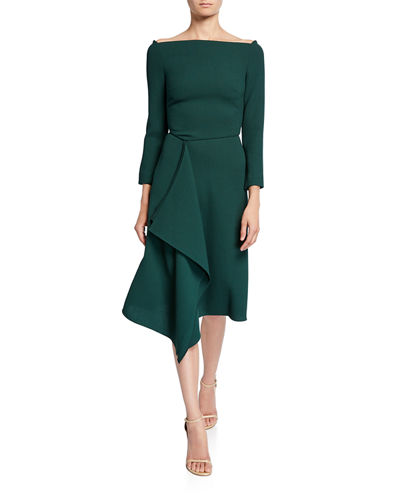 Roland Mouret Clover Off-the-Shoulder Draped-Front Dress