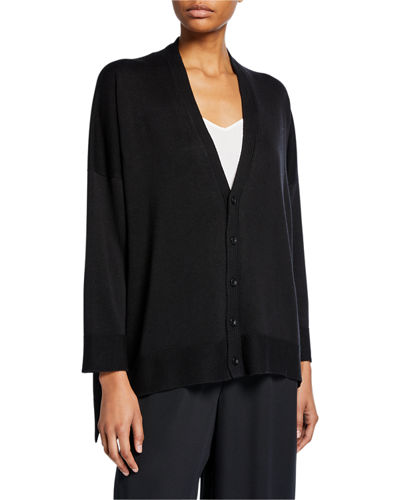 3/4 Long-Back Silk Cardigan