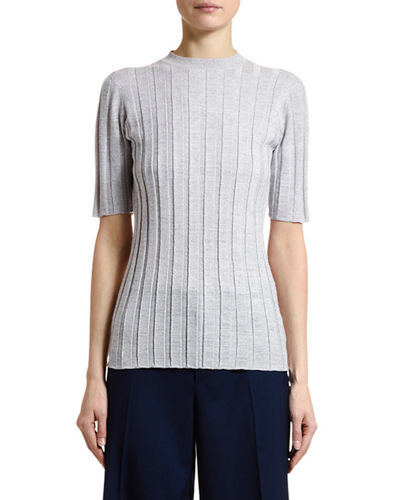 Marni Short-Sleeve Shimmer Rib-Knit Sweater