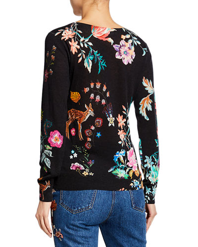 Etro Stampa Croce Deer-Print V-Neck Silk/Cashmere Sweater