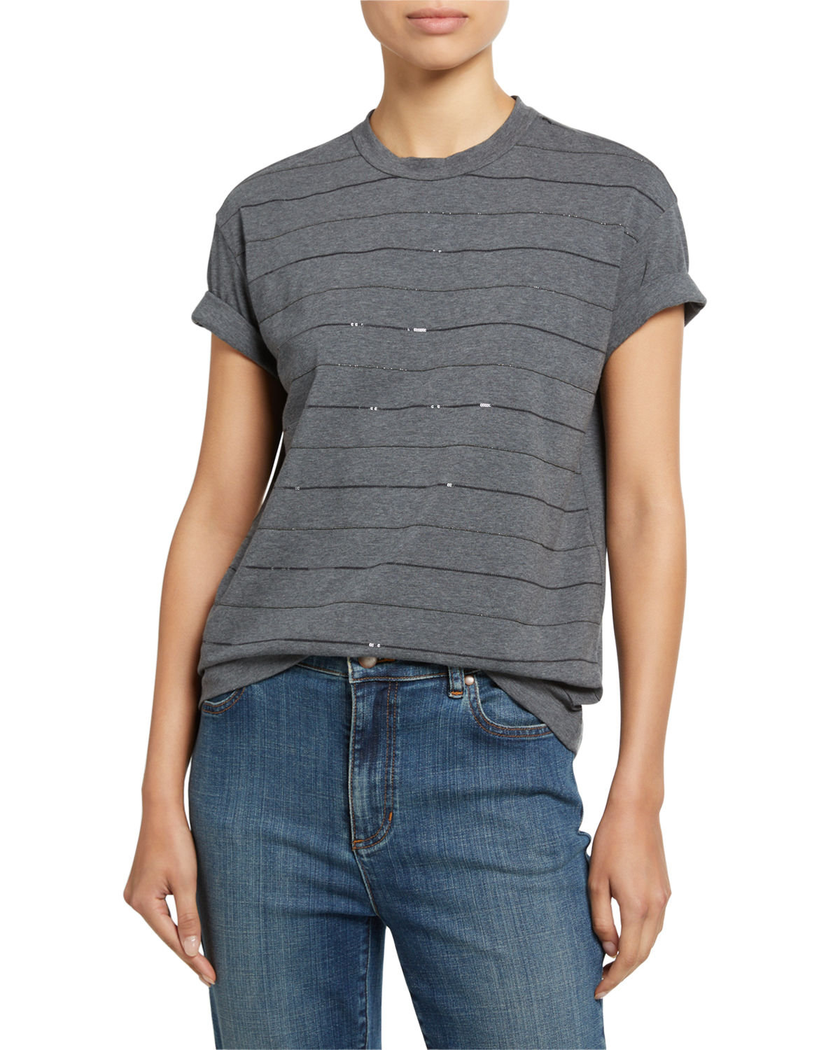 Brunello Cucinelli T-shirts COTTON MICRO SEQUIN-STRIPED T-SHIRT