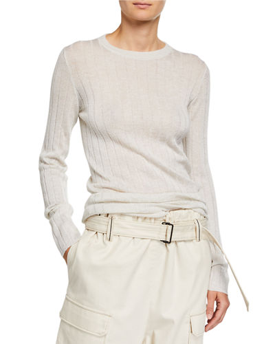 Shimmer Wool Ribbed Sweater