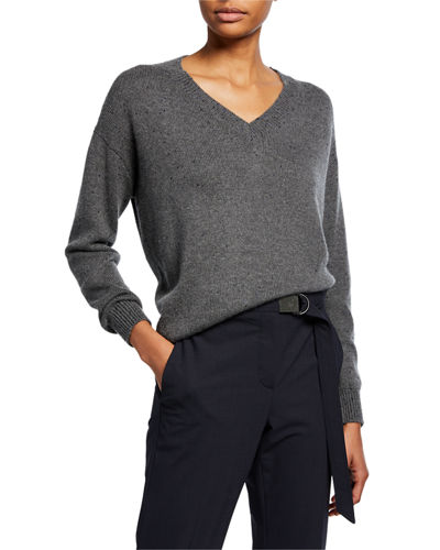 Cashmere Sequined V-Neck Sweater