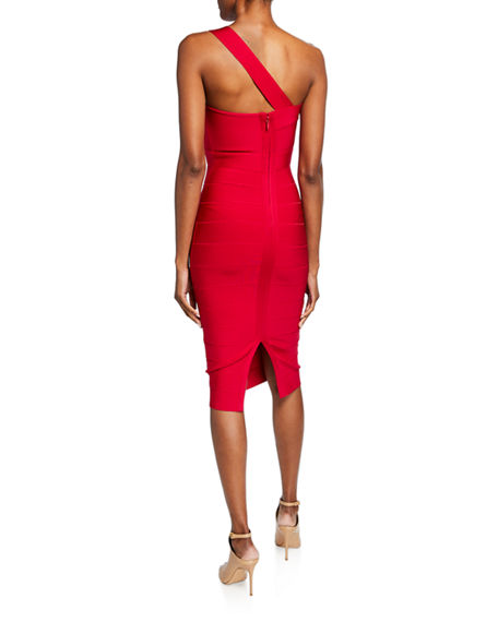 Image 2 of 2: Herve Leger Icon Asymmetric One-Shoulder Dress