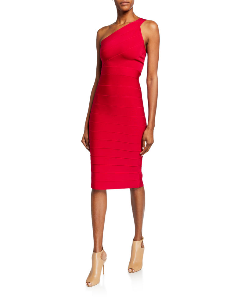 Herve Leger Icon Asymmetric One-Shoulder Dress