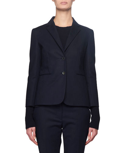 Lobston Bracelet-Sleeve Stretch-Cotton Blazer, Navy