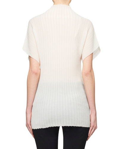 THE ROW Karolina Pleated Mock-Neck Blouse