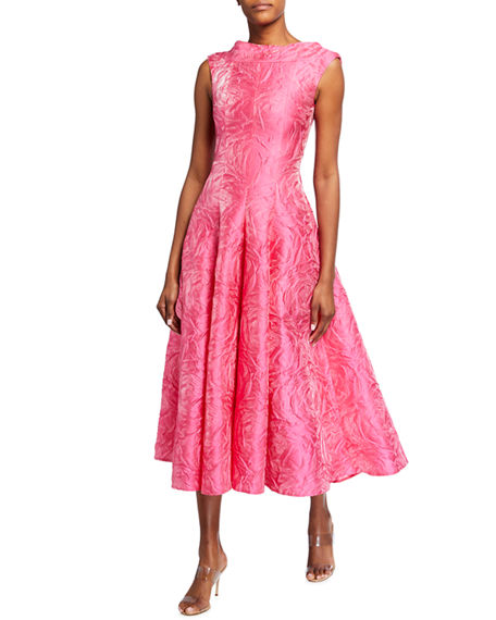 Talbot Runhof Rose-Jacquard Satin Tea-Length Dress