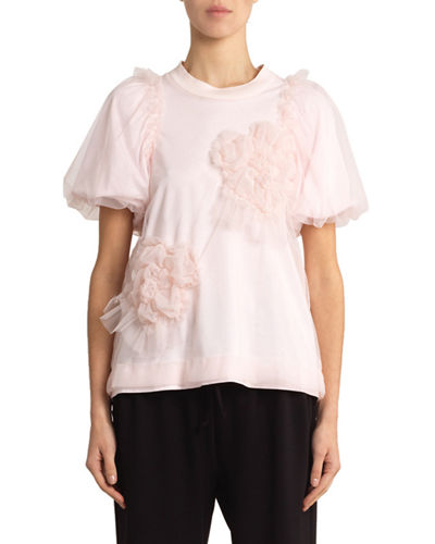 Floral-Tulle Overlaid Jersey Tee