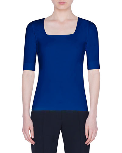Akris punto Jersey Square-Neck 1/2-Sleeve Top
