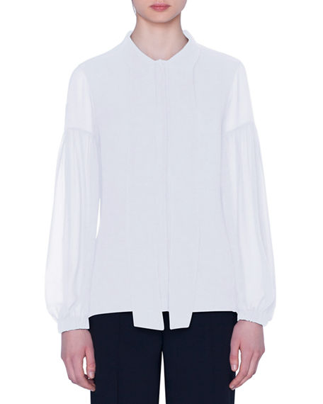Akris Stretch Cotton Lantern-Sleeve Tie-Neck Blouse