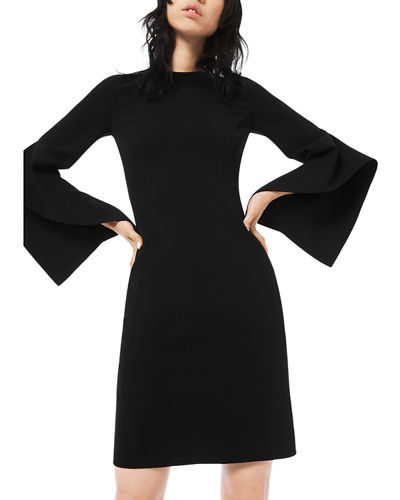 Crepe Draped-Sleeve Sheath Dress