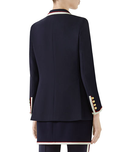 Gucci Peak-Lapel Two-Button Cady-Stretch Blazer