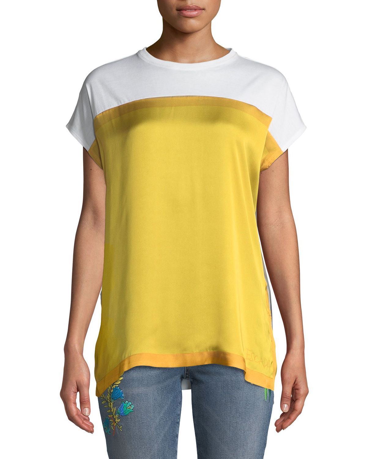 Escada Sport Shorts CREWNECK SHORT-SLEEVE COLORBLOCK TEE