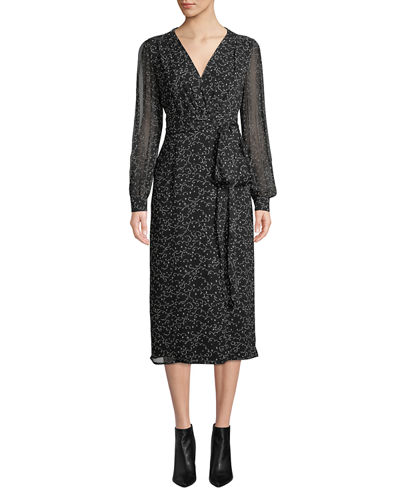 Long-Sleeve Wrap-Front Printed A-Line Midi Dress