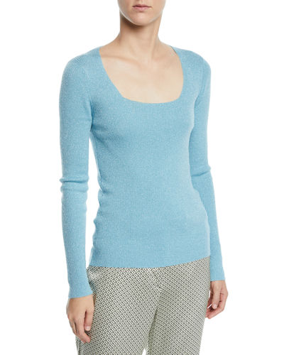 Scoop-Neck Shimmer Sweater