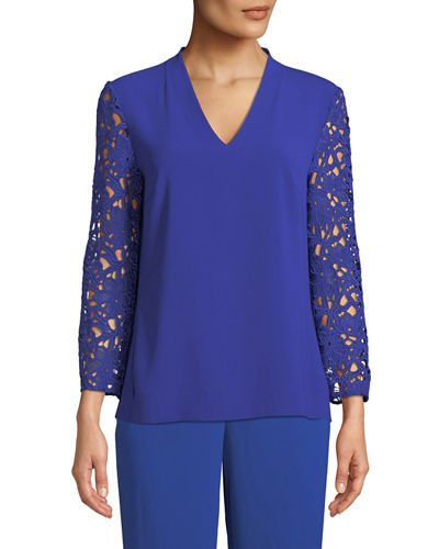 Lace-Sleeves V-Neck Crepe Top