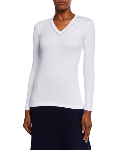 Brunello Cucinelli V-Neck Long-Sleeve Rib Cotton Top w/ Monili Trim