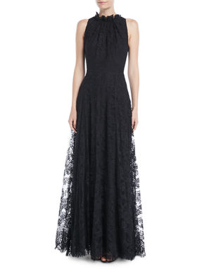 1c379718f5f6e6 Escada Sleeveless Halter Ruffle-Neck A-Line Lace Evening Gown