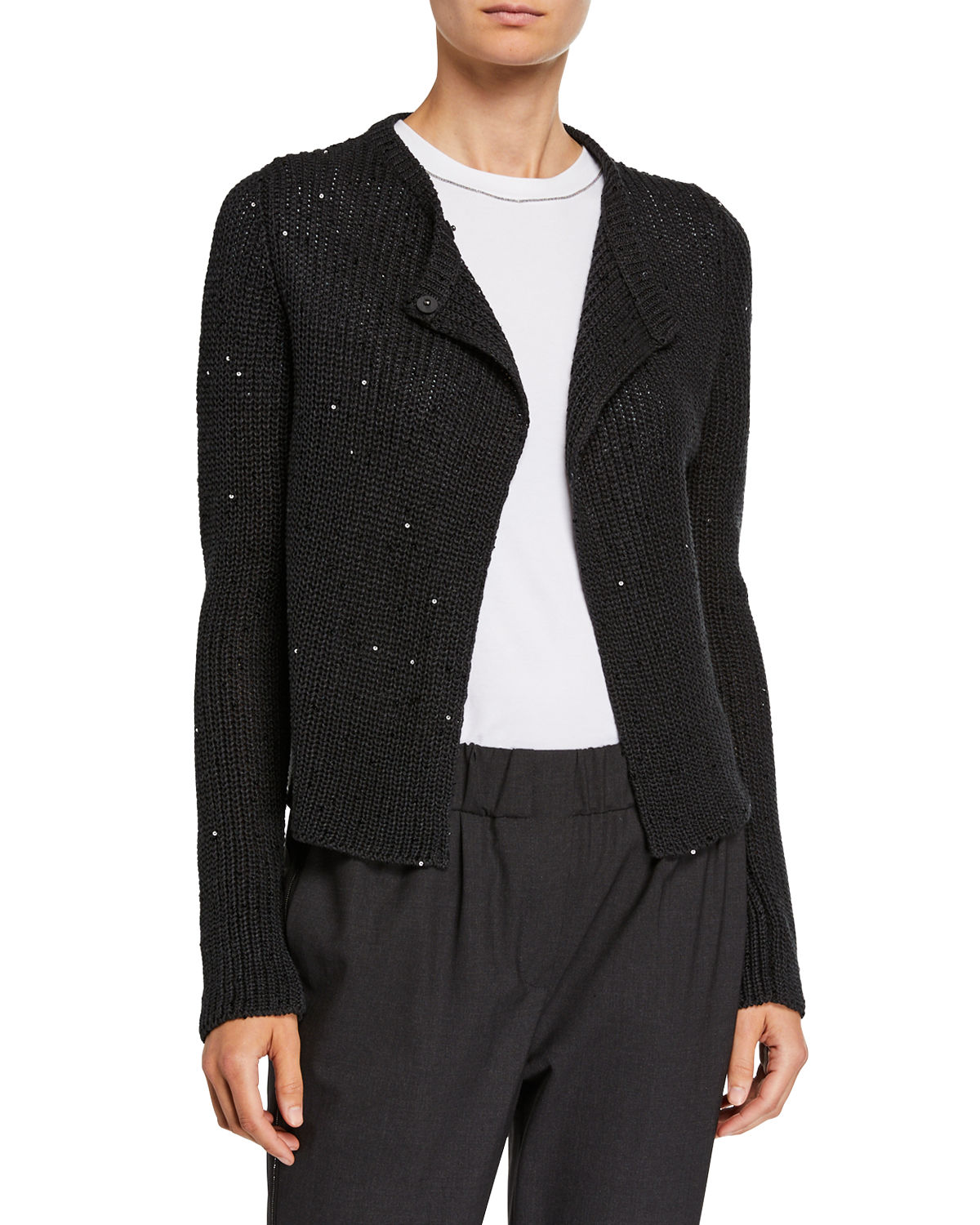 Sequined English-Ribbed Silk/Linen Cardigan