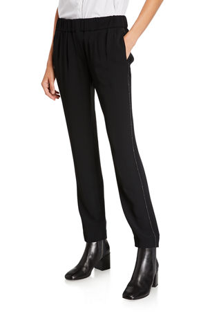 Brunello Cucinelli Crepe Pull-On Pants with Monili Side Trim