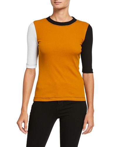 Colorblocked Cotton 1/2-Sleeve T-Shirt