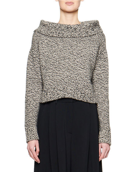 THE ROW Luand Cashmere-Wool Foldover-Neck Sweater