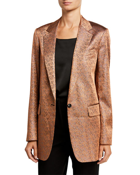 Dries Van Noten Blanche Metallic Twill Blazer