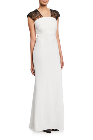Escada Glihana Sheer Beaded Cap-Sleeve Gown