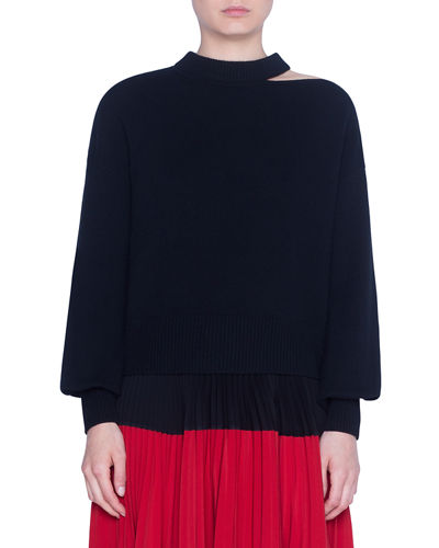 Akris punto Wool-Cashmere Slit-Neck Full-Sleeve Sweater