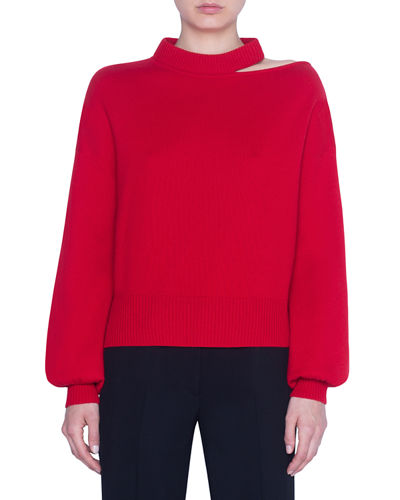 Wool-Cashmere Slit-Neck Full-Sleeve Sweater