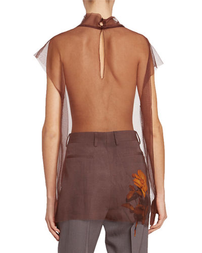 Dries Van Noten Chiara Sleeveless Tulle Blouse