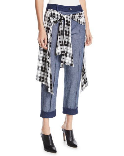 Sentry Boyfriend Jeans w/ Plaid Silk-Satin Wrap