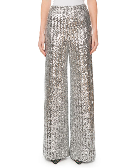 Roland Mouret Fabian Sequined Wide-Leg Pants
