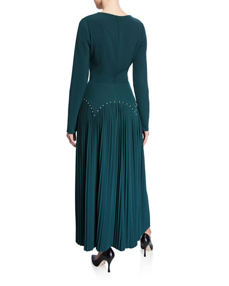 Image 2 of 2: Lela Rose Pleated Jersey Pearly-Waist Long-Sleeve Dress