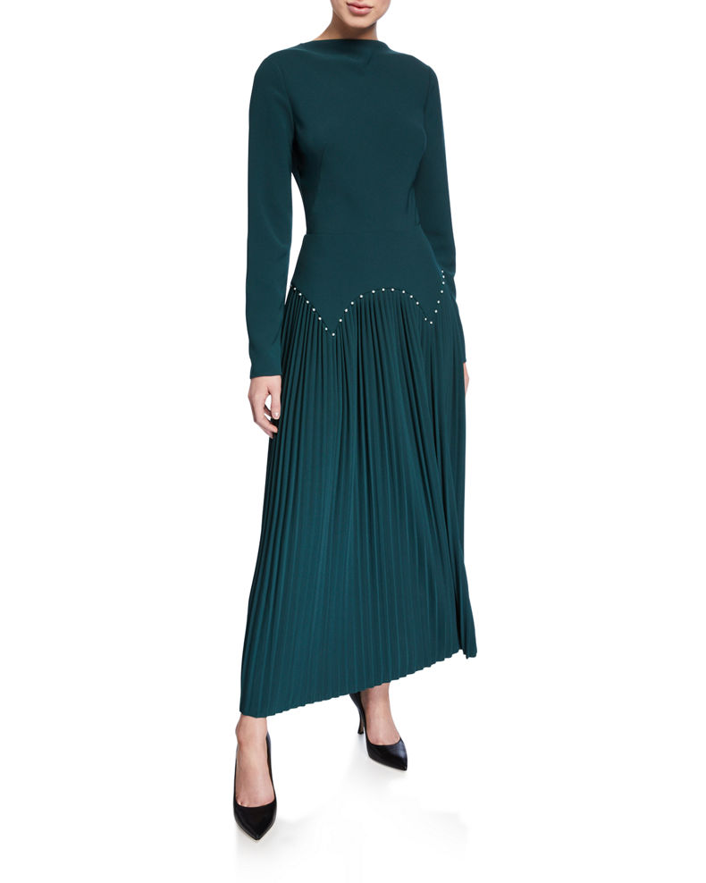 Lela Rose Pleated Jersey Pearly-Waist Long-Sleeve Dress