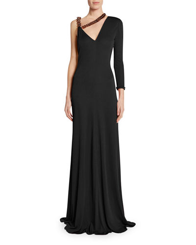 TOM FORD One-Sleeve Chain-Strap Jersey Gown