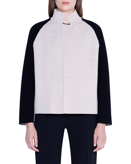 Akris Cashmere Colorblocked Open-Front Jacket