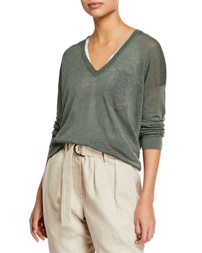 Linen Knit Long-Sleeve V-Neck Sweater with Monili Pocket