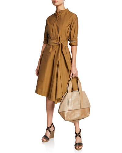 c55f5fc1fdb230 Quick Look. Brunello Cucinelli · Crinkled Cotton Long-Sleeve Belted Shirt  Dress